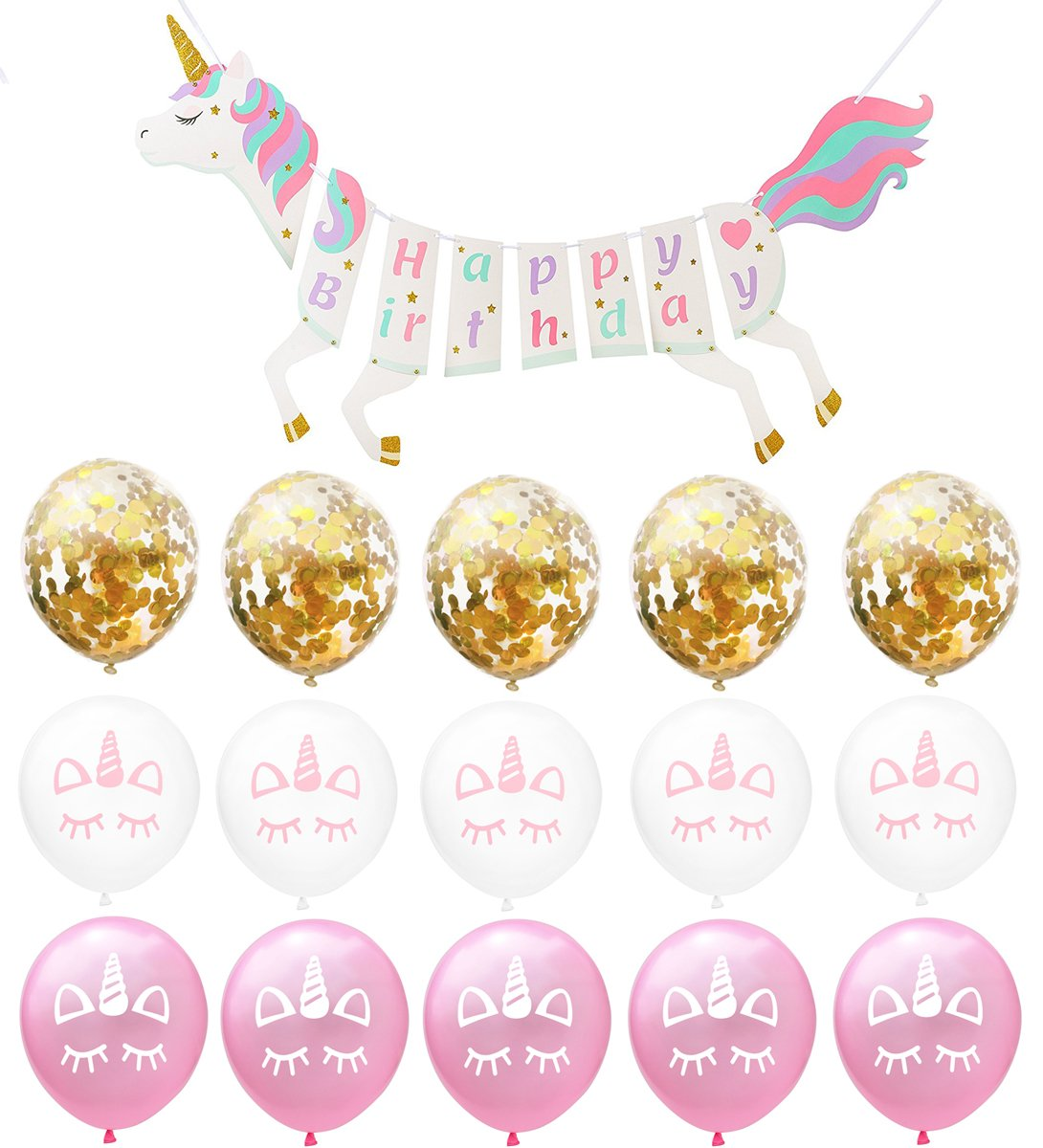 Regilt Unicorn Party Supplies Decorations Set - Unicorn Happy Birthday Banner Balloons - Clear balloons with gold confetti for Girls Birthday Party