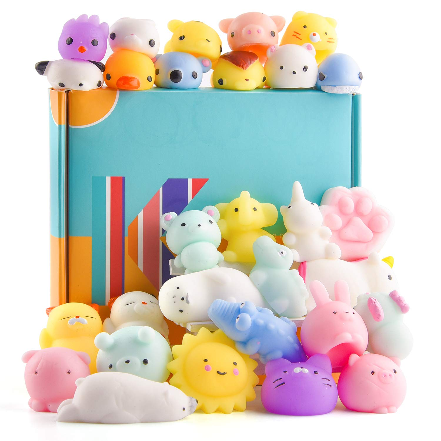 KUUQA 30 PCS Kawaii Mochi Squishy Toys Squishies Animal Cat Panda Unicorn Mini Soft Squeeze Stress Relief Squishies Balls Toys Cute Birthday Party Favours Bags Gifts for Kids Adults by KUUQA