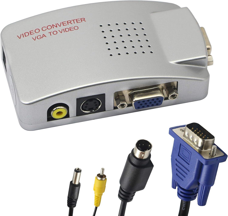 Adaptador VGA a RCA, convertidor AV Compuesto de S-Video a VGA, para HDTV, monitores, computadora portátil, computadora de Escritorio, PC. por Fengqlong: Amazon.es: Electrónica