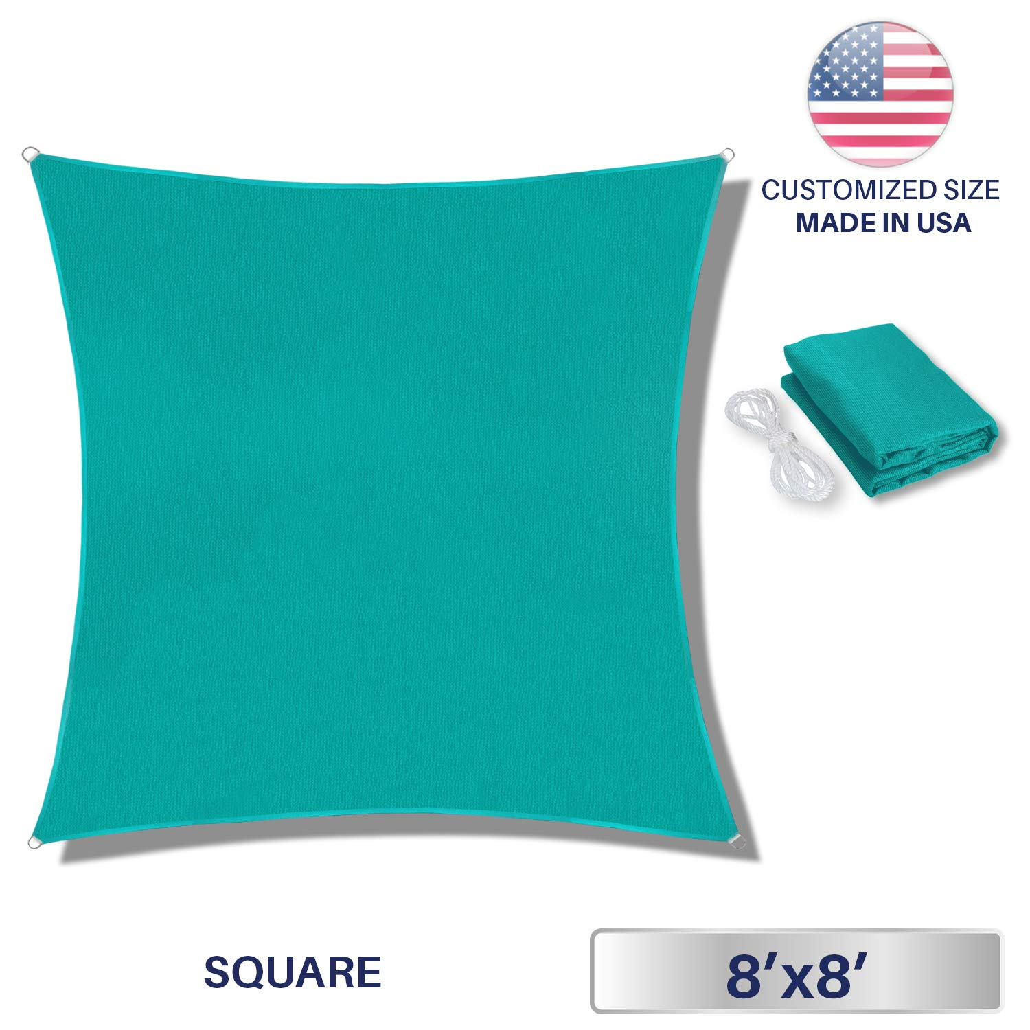 Windscreen4less 8 x 8 Square Sun Shade Sail – Solid Turquoise Durable UV Shelter Canopy for Patio Outdoor Backyard – Custom
