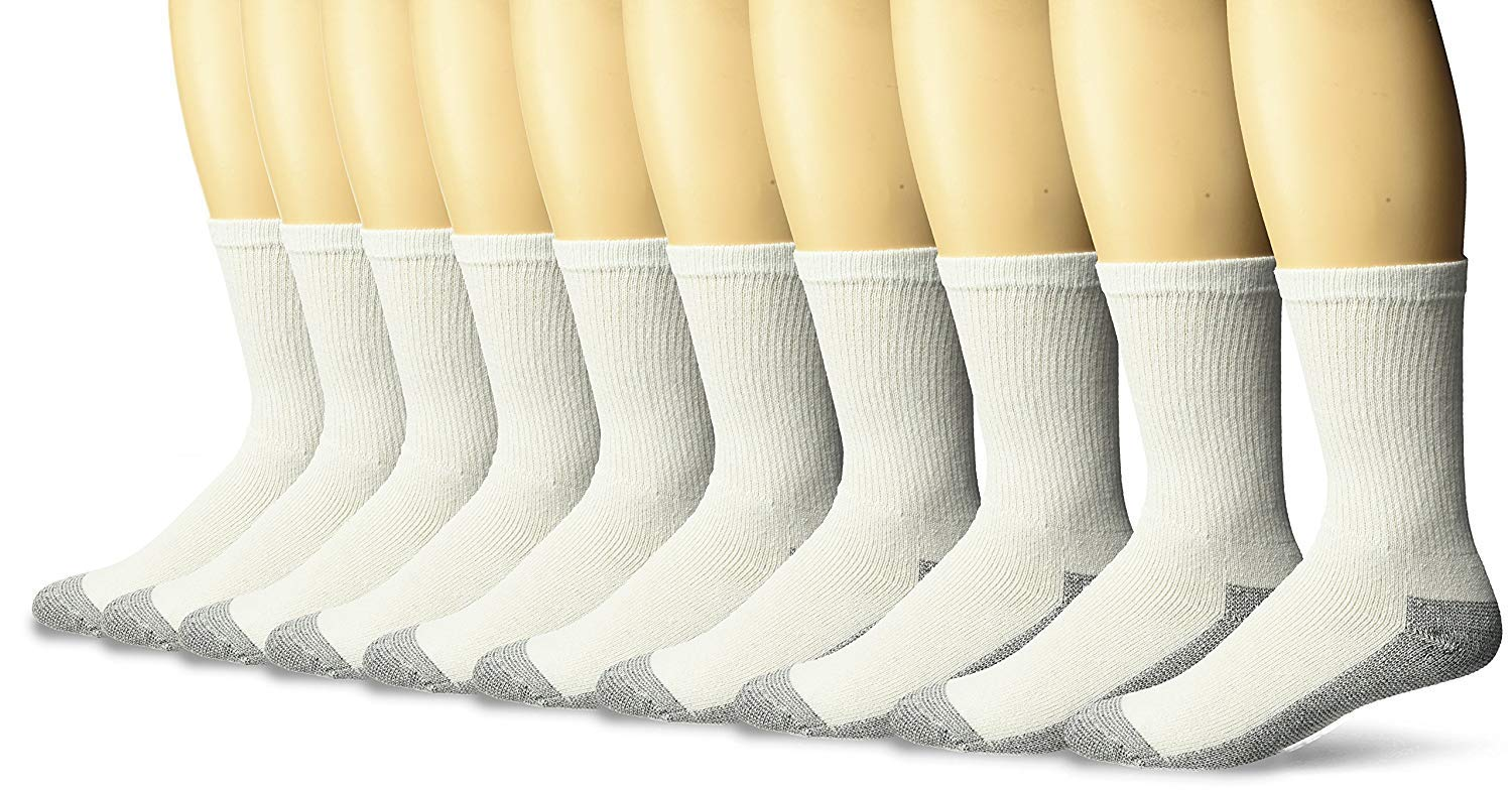 Fruit of the Loom Men's Cotton Work Gear Crew Socks | Cushioned, Wicking, Durable