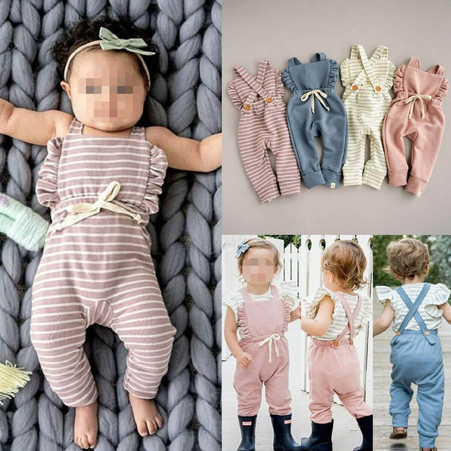 New Born Baby Clothes Backless Overalls Jumpsuit Clothes Baby Girl Romper Kid Clothes