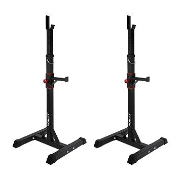 POWRX - Soporte para halteras par | Soporte para mancuernas, para pesa larga | Altura