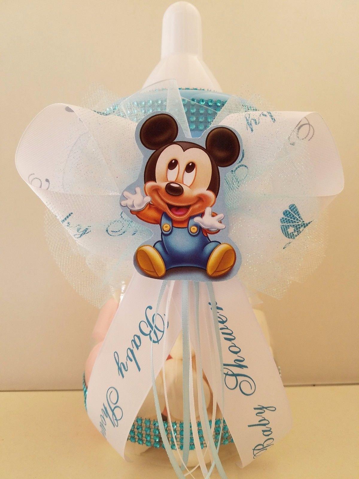 Mickey Mouse Centerpiece Bottle Large 12'' Baby Shower Piggy Bank Boy Decoration