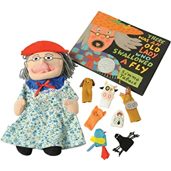 amazon com there was an old lady who swallowed a fly puppet props