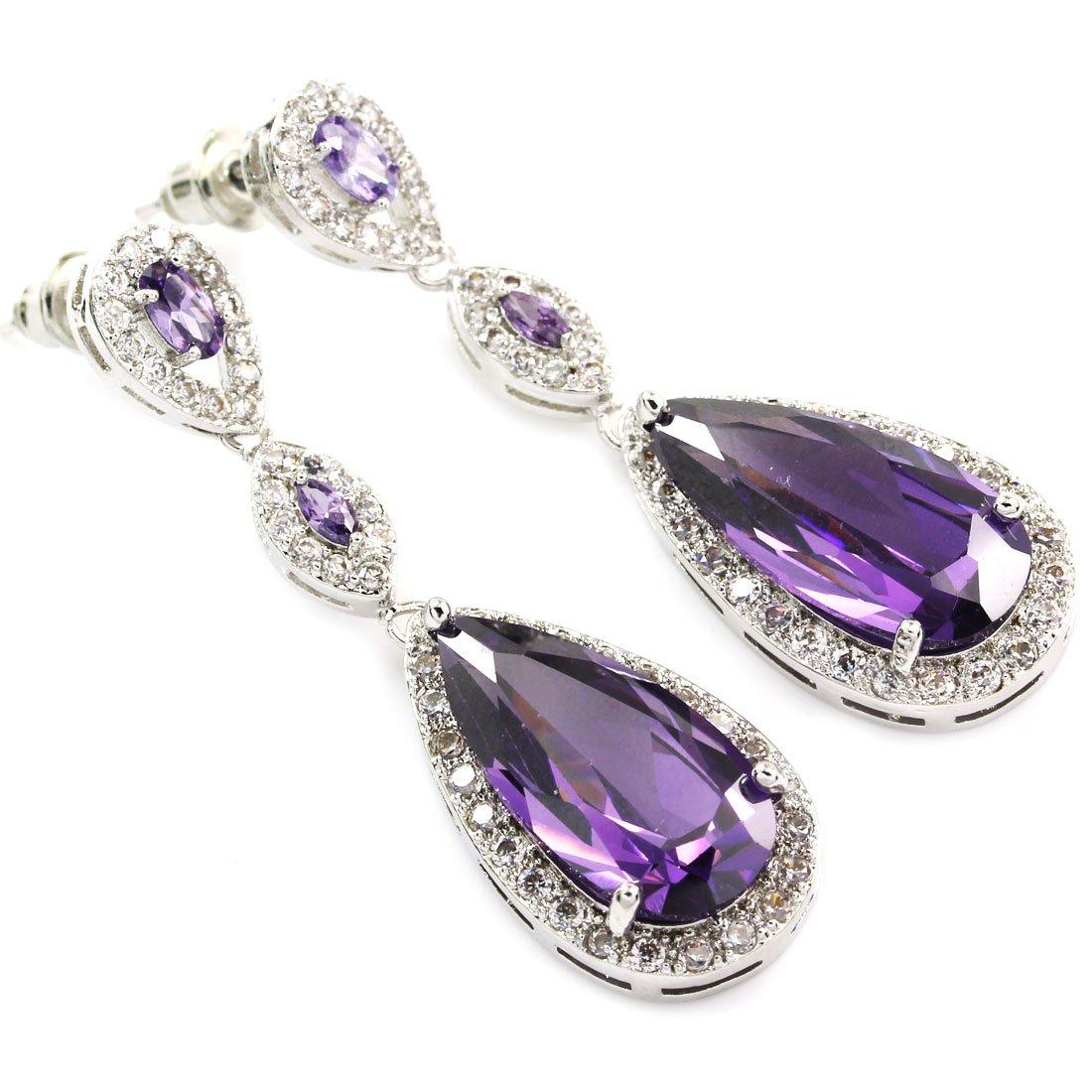 FC JORY Purple Amethyst Dangle Teardrop Crystal White Gold Plated CZ Bridal Earrings