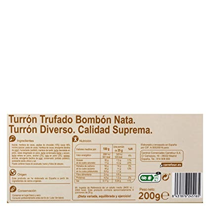 Carrefour Truffled Spanish Nougat with Cream - 5 Pack - Made in ...