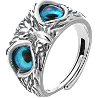 IPEPPY Real 925 Sterling Silver Owl Ring for Women Girl Lovers Retro Animal Adjustable Ring Statement Ring Jewelry Gift