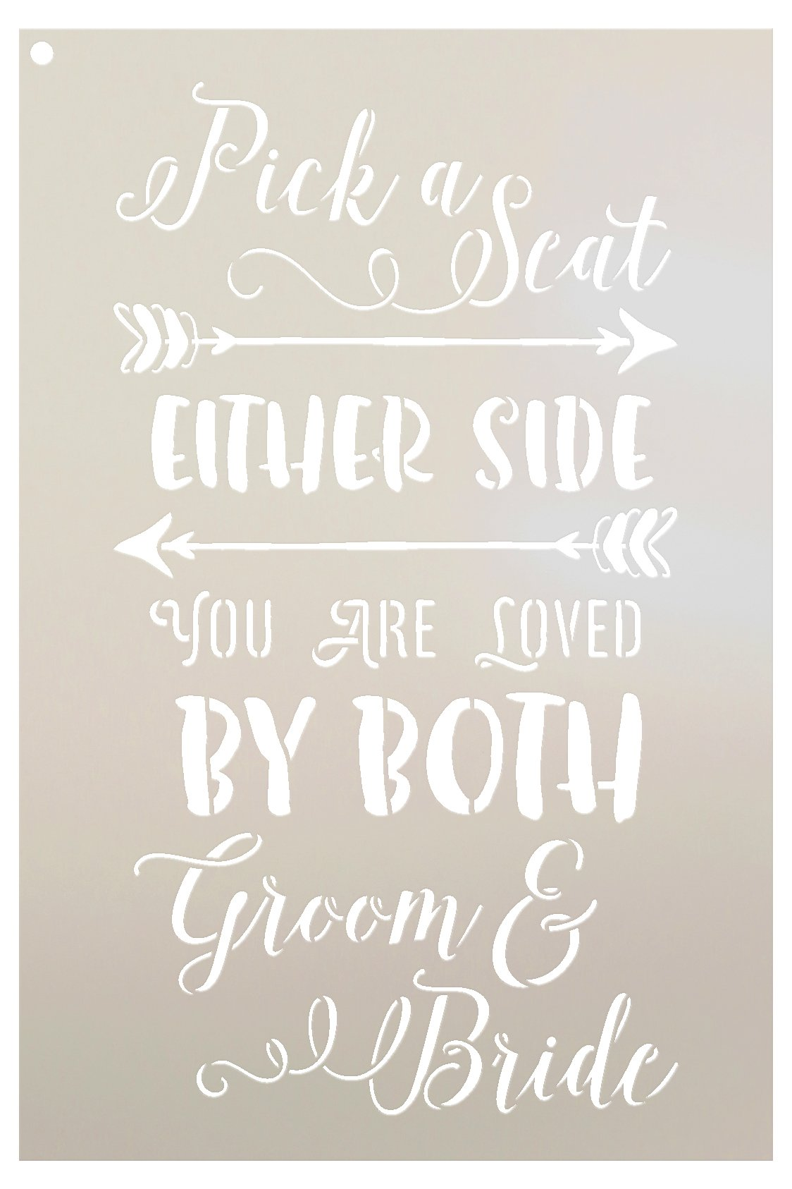 Pick A Seat Either Side Stencil by StudioR12 | Elegant Wedding Word Art -Reusable Mylar Template | Painting, Chalk, Mixed Media | Use for Wall Art, DIY Home Decor - Select Size (12'' X 18'')