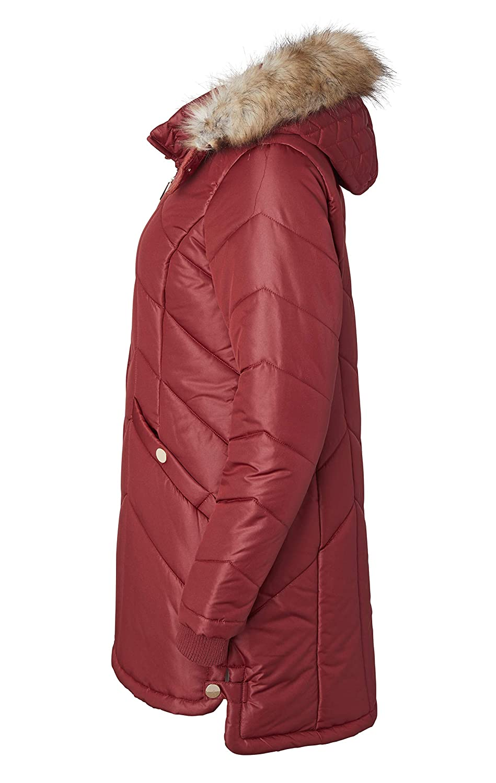 Women Long Down Alternative Winter Puffer Coat Zip-Off Plush Lined Fur Trim Hood