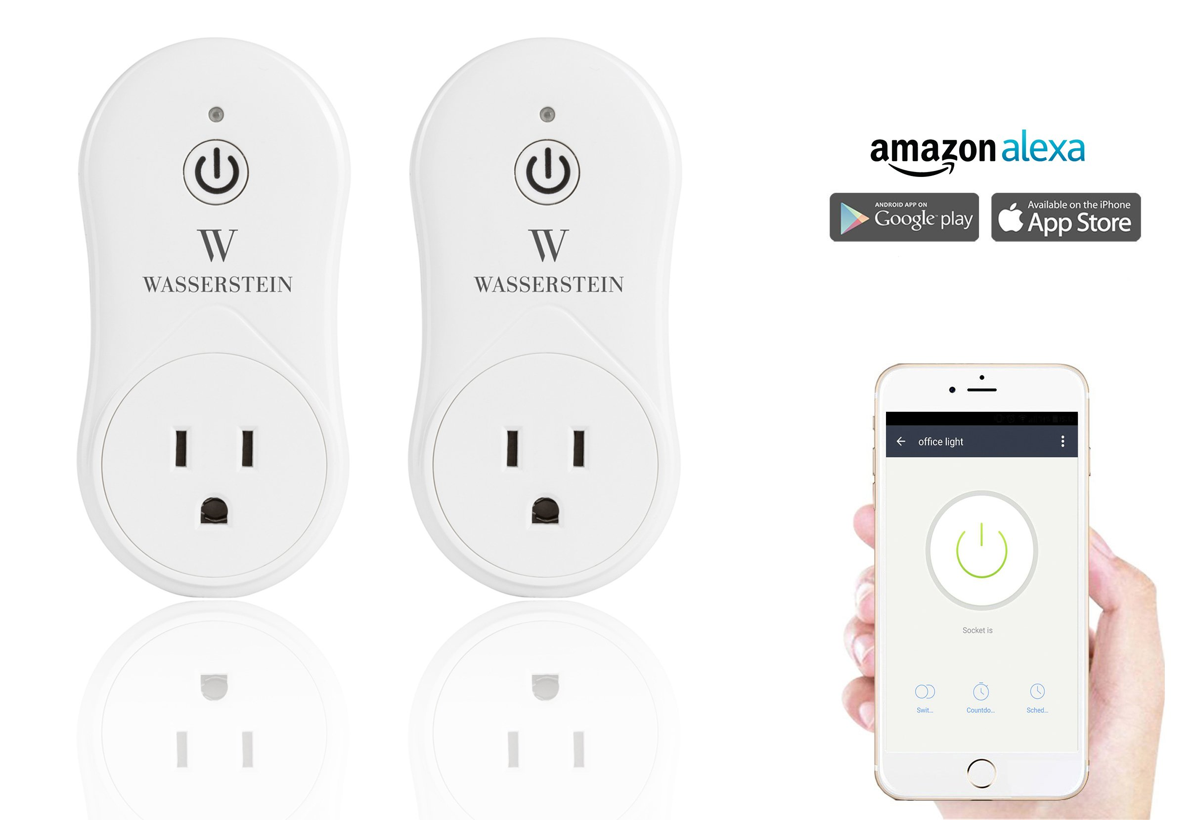 Smart Home Smart Plug by Wasserstein Compatible with Alexa for your Smart Home, Wi-fi control all your Devices Wherever you are; No expensive hub required, Simple Plug & Play Smart Socket (2 Pack)
