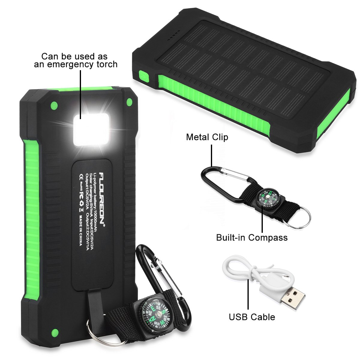 FLOUREON 10,000mAh Solar charger Power Bank Portable Phone Charger External Battery Charger with Dual 2.1A USB LED Flashlight Output Charging for iPhone 8/ 8 Plus/ X/ 7/ 6s, Samsung Galaxy S8/ S7/ S6 and More (Green)