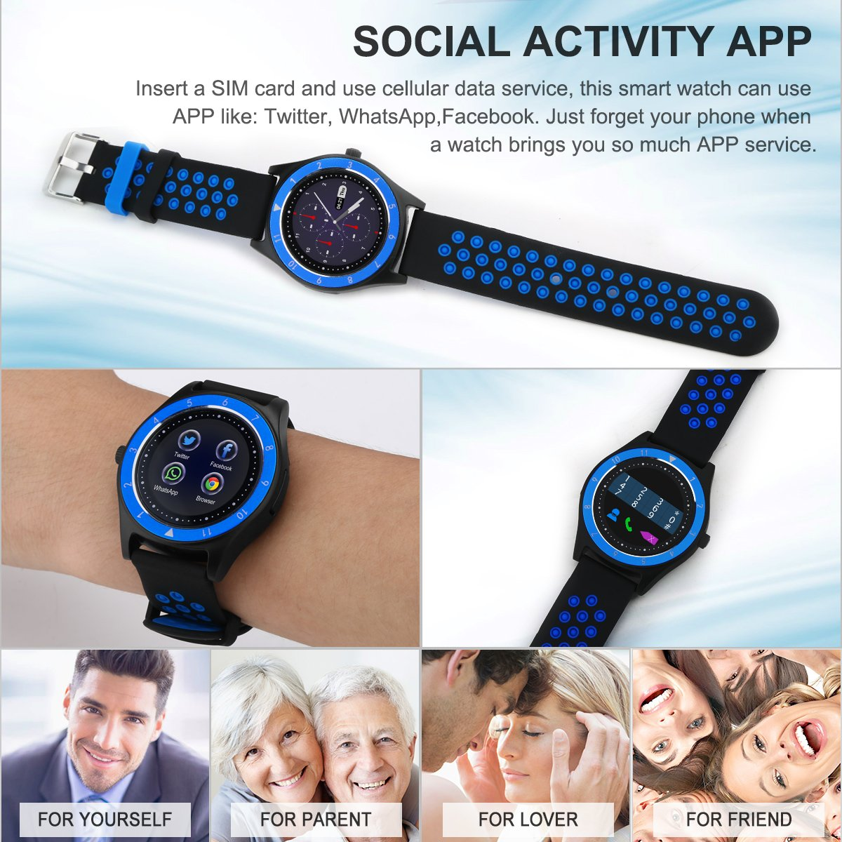 Smart Watch,Bluetooth Smartwatch Touch Screen Wrist Watch with Camera/SIM Card Slot,Waterproof Phone Smart Watch Sports Fitness Tracker for Android iPhone IOS Phones Samsung Huawei for Kids Women Men by Topffy (Image #3)