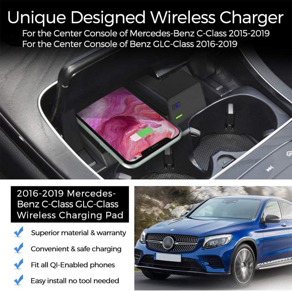 with Fast Charger CarQiWireless Wireless Phone Charger for Mercedes-Benz C-Class GLC 2016-2020 Center Console Wireless Charging Pad Mat for All C GLC Models Accessory for All QI Enabled Phone