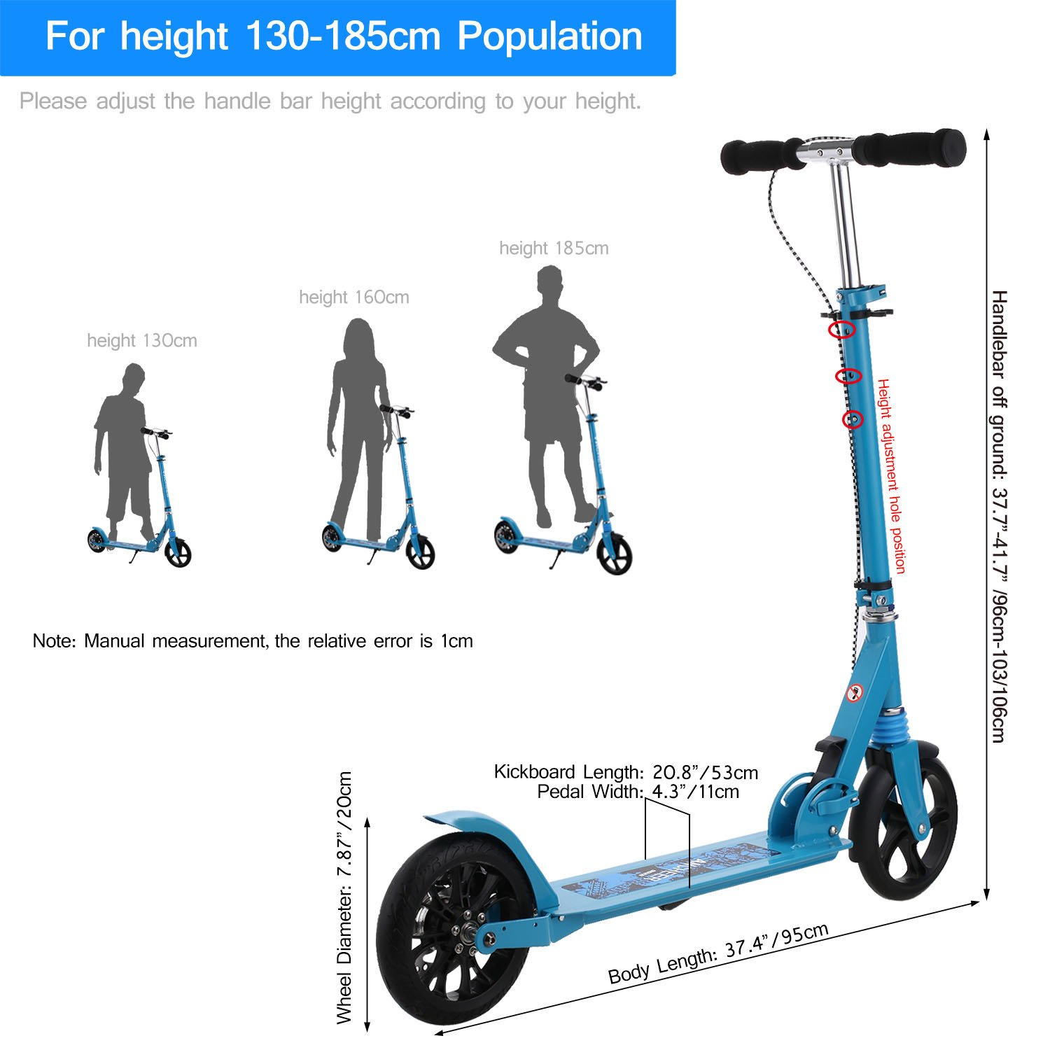 Amazon.com: Hikole - Patinete para adultos, altura ajustable ...