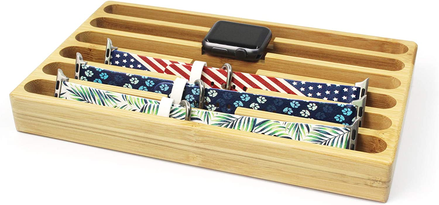 Wooden Watch Strap Storage Box - LAACO Bamboo Storage Case Compatible with All Apple Watch Bands - Works with All 20mm 22mm Watch Bands - 6 Slots Specifically Designed.