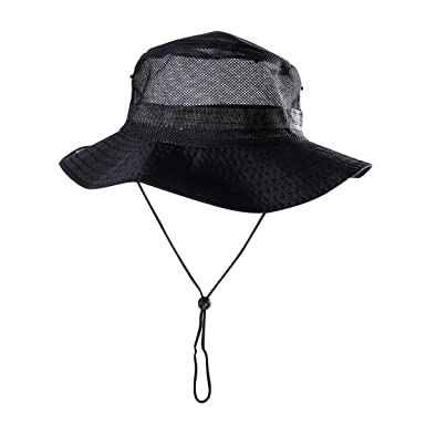 cc5676c4011 Tinksky Fishing Hat Outdoor Mesh Boonie Hat Fisherman Sun Cap Sunshade Bucket  Hat with String Wide Brim Hat for Men (Black)  Amazon.co.uk  Clothing