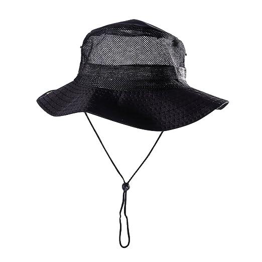 Outdoor Mesh Sunshade Fisherman Fishing Hat Sun Cap Bucket Hat with ... 564e40e1749