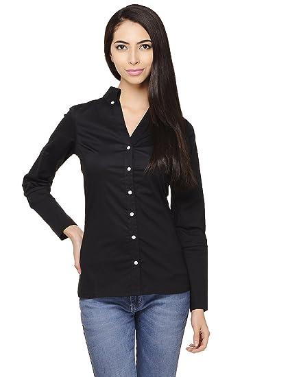 c7e00048b2540d Cattleya Women s Cotton Poplin Lycra Black Button Down Collar Shirt Size -  XS
