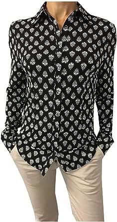 ALPHA STUDIO Camisa de Mujer, Jersey Estampado Negro/Blanco ...