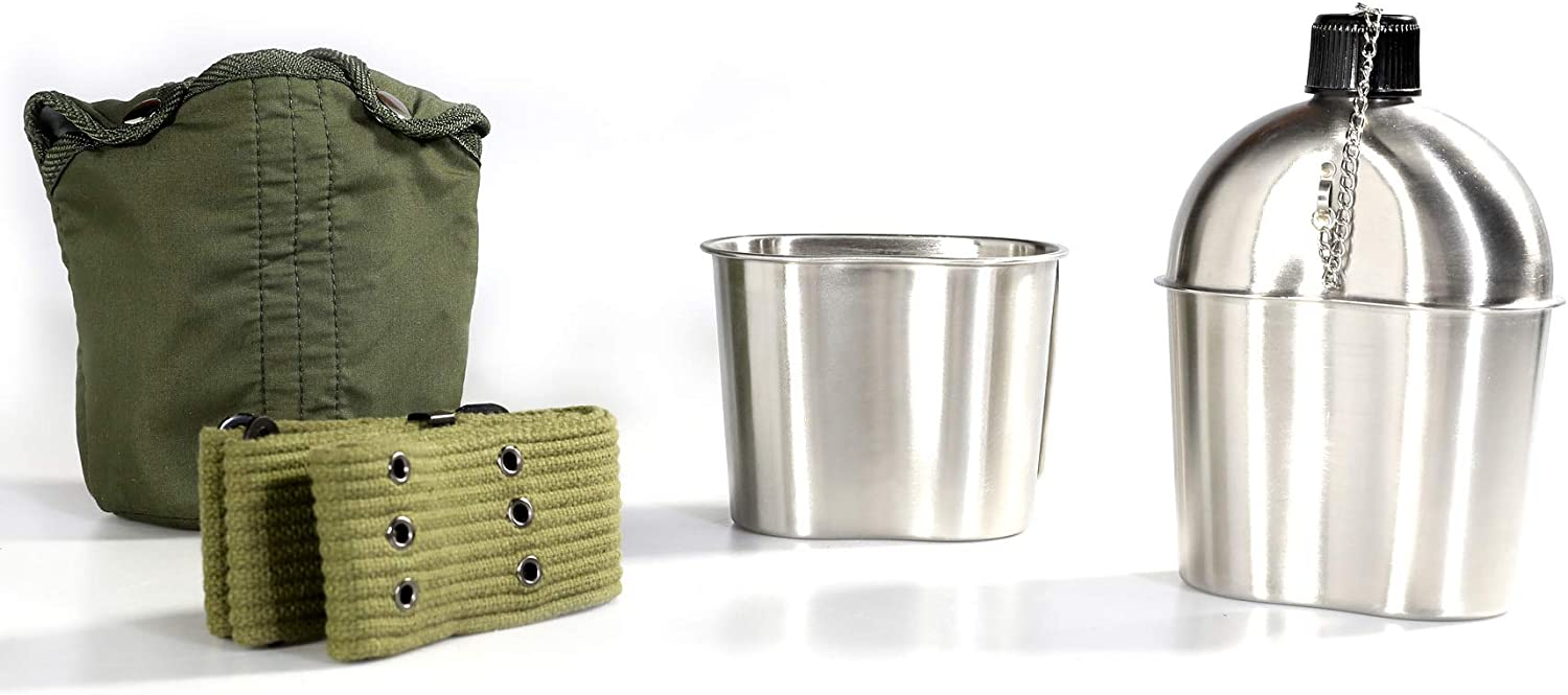 Pinty G.I. Army Stainless Steel Canteen Military with Cup and Green Nylon Cover Waist Belt for Camping Hiking