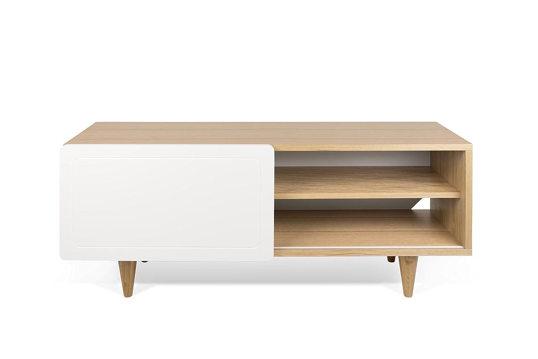 Rovere//Bianco TemaHome Nyla TV Table Ch/êne 120 x 34 x 50 L x L x H cm