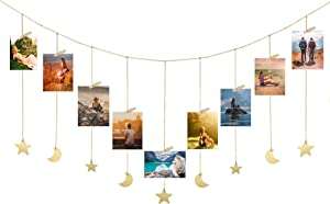 Febou Hanging Photo Display Wooden Moon Stars Garland Wall Hanging Decor with Metal Chains Picture Collage with 30 Wood Clips, Boho Wall Art Decor for Bedroom Dorm Nursery, Gold