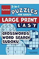 Funster 3-in-1 Puzzles for Adults Large Print Easy Crosswords, Word Search, Sudoku: Activity puzzle book for adults with 100+ puzzles Paperback