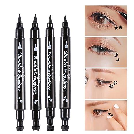 Eyeliner Crayon de Double Tête Tampon en Forme d\u0027Étoiles Lune Fleurs Coeur  Étanche Maquillage