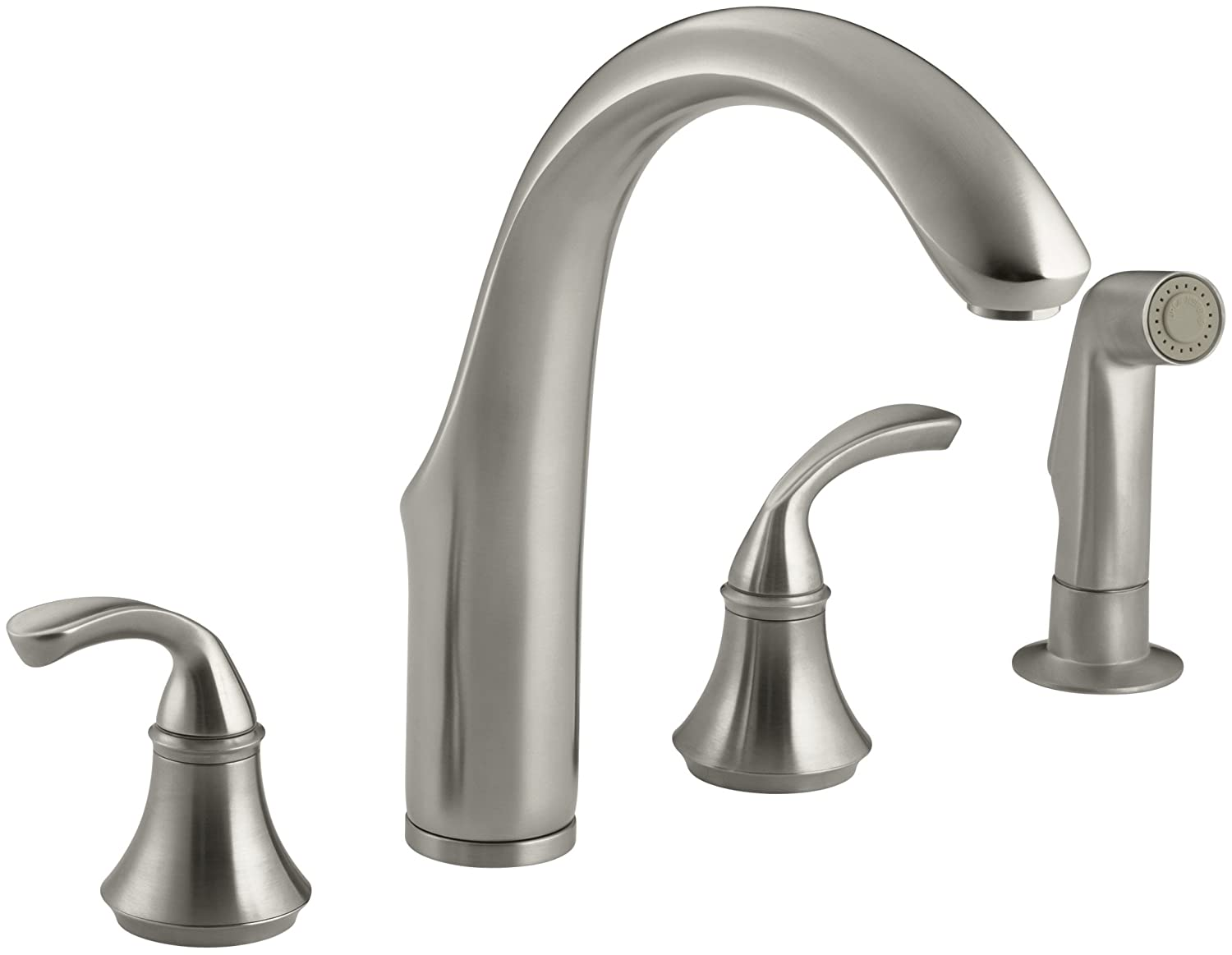 KOHLER 10445-BN Fort R 4-Hole Sink 7-3 4 spout, Matching Finish sidespray Kitchen Faucet, Vibrant Brushed Nickel
