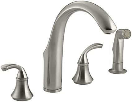 Four Hole Kitchen Faucets | Kohler 10445 Bn Forte R 4 Hole Sink 7 3 4 Spout Matching Finish Sidespray Kitchen Faucet Vibrant Brushed Nickel