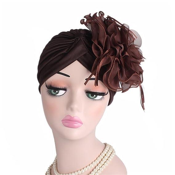 Comradesn Diademas y cintas para el pelo Fascinators Sombreros Mujeres Ruffle Turban Headwear Con gran flor