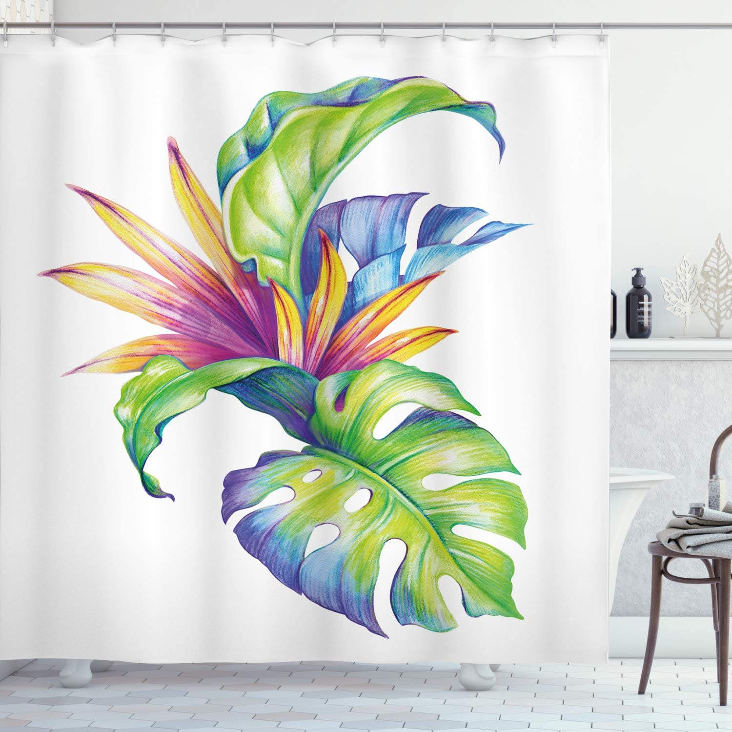 """Ambesonne Plant Shower Curtain, Tropical Leaves and Monstera with Abstract Color Scheme Hawaiian Floral Elements, Cloth Fabric Bathroom Decor Set with Hooks, 70"""" Long, White Green"""