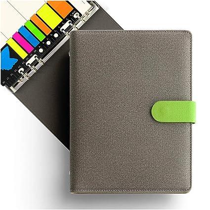 KKDragon Cuadernos Bonitos A5 Tapa Dura + Notas Adhesivas + Plan Semanal y Líneas Rayadas, 6 Agujeros Anillas, Carpeta Pu Premium Estilo Lienzo, Color ...