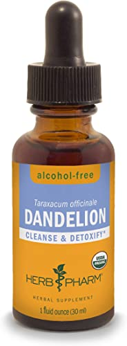 Herb Pharm Certified Organic Dandelion Liquid Extract for Cleansing and Detoxification, Alcohol-Free Glycerite, 1 Ounce