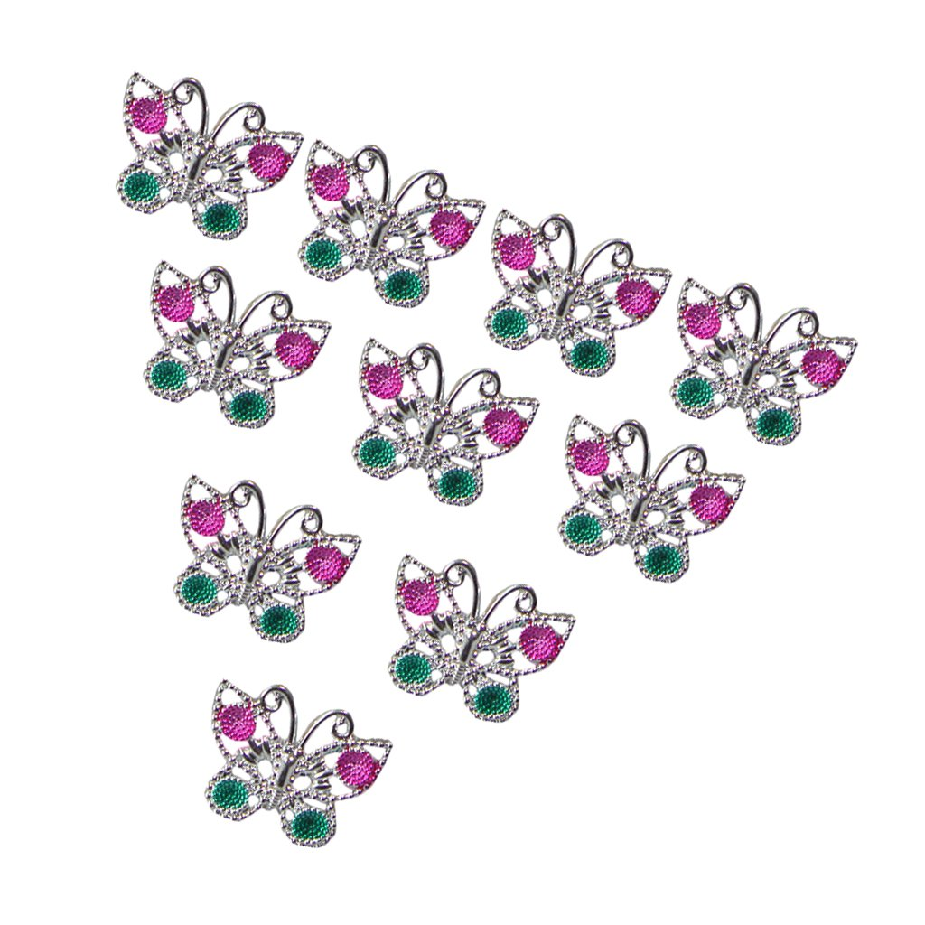 10pcs Plastic Butterfly Rings for Girl Kids Party Favor Gifts Silver Generic