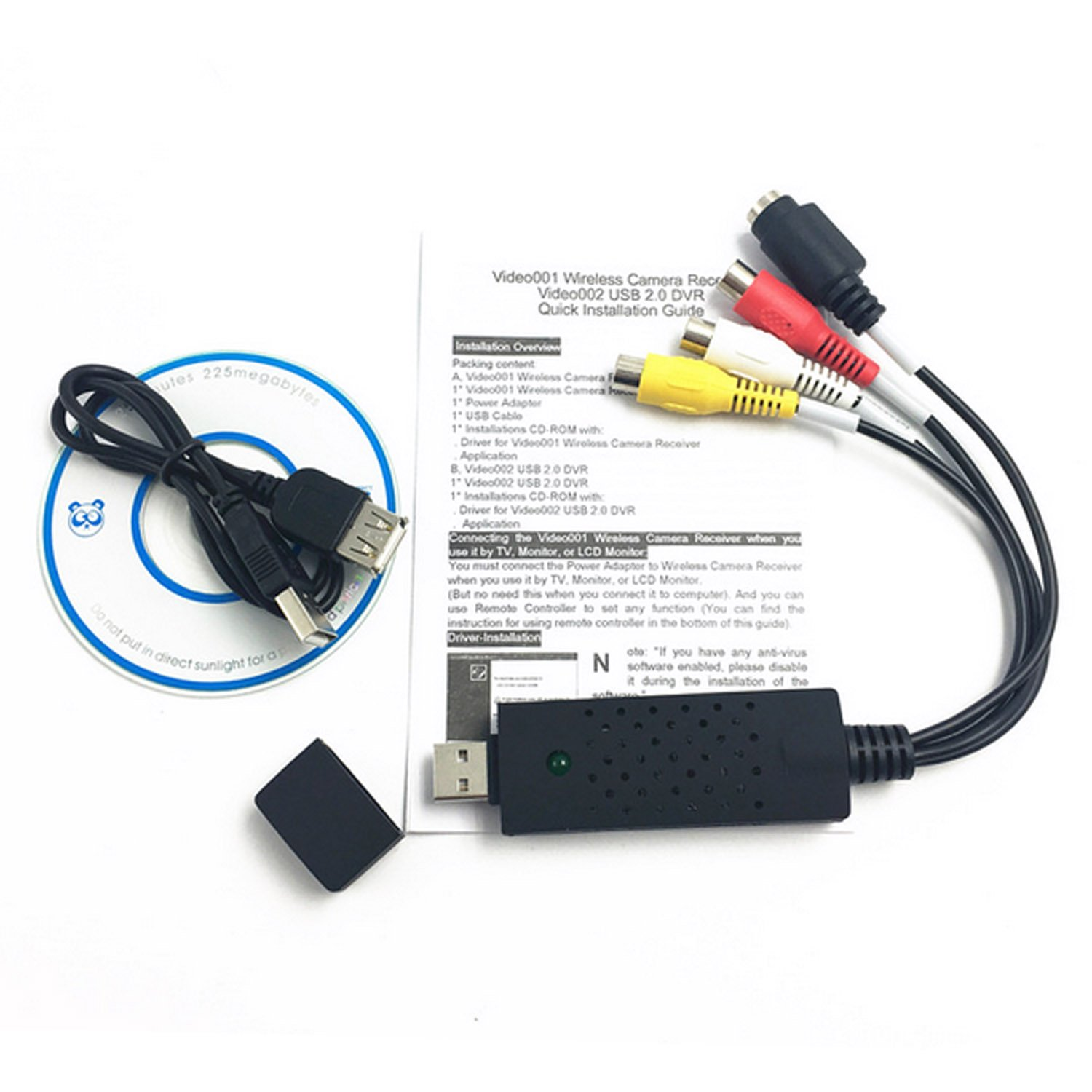 Usb 20 Video Capture Converter Adapter Cable With Audio To Av Rca Easy Dvr 1 Channel Tv Dvd Vhs Card Convertervideo Home