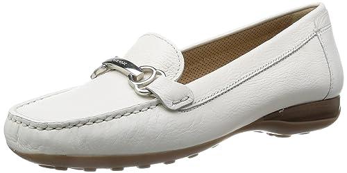 Geox Donna Euro A, Mocasines para Mujer, Blanco (Weiß (Optic White C1405), 39.5 EU: Amazon.es: Zapatos y complementos