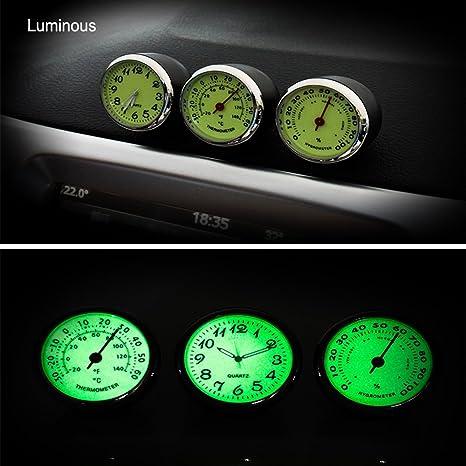 f/ür Automobildekore Mini Car Hygrometer und Thermometer iTimo Car Luminous Quarzuhr Hygrometer 3 Modelle