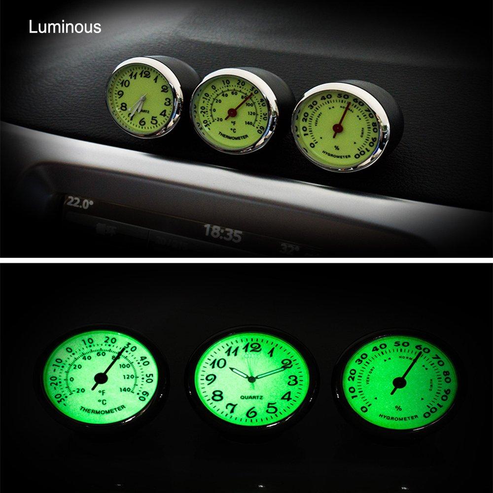 iTimo Car Luminous Quarzuhr Mini Car Hygrometer und Thermometer 3 Modelle Hygrometer f/ür Automobildekore