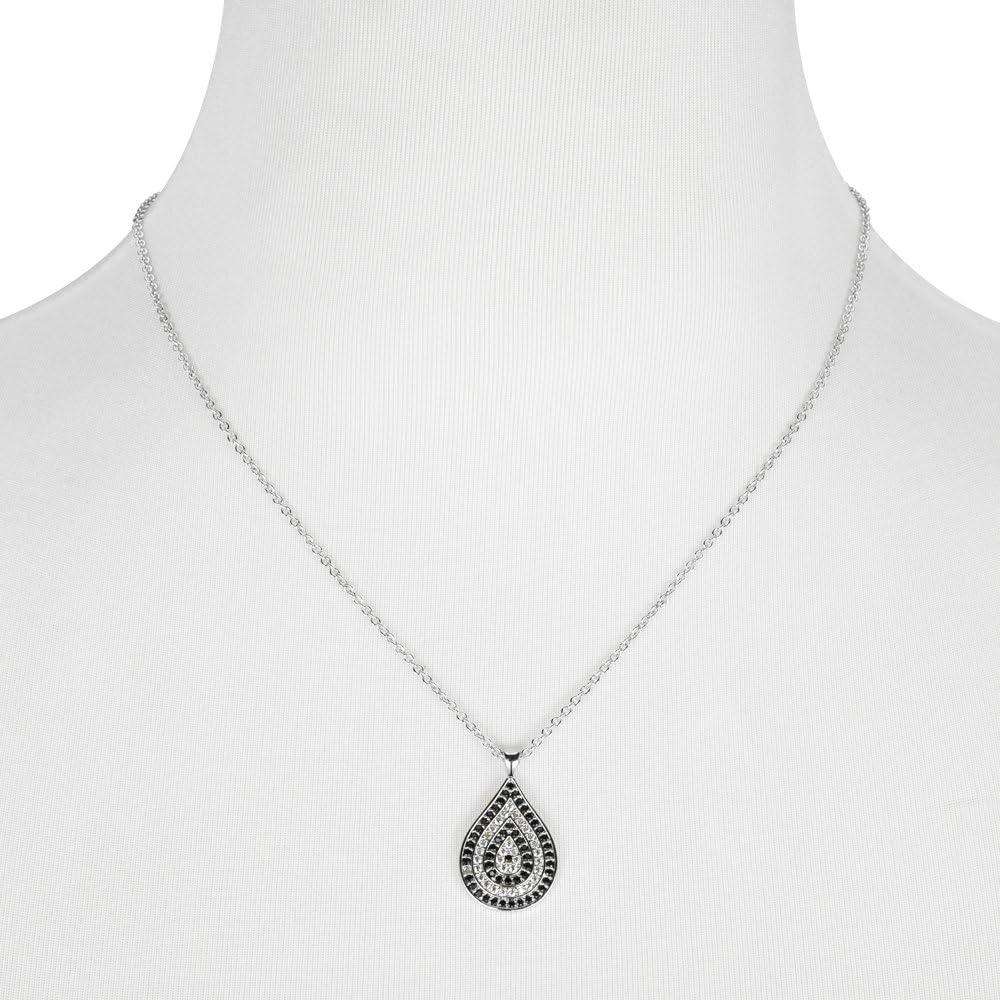 BIJOUX BOBBI Black /& Clear Pave CZ Teardrop Pendant Necklace