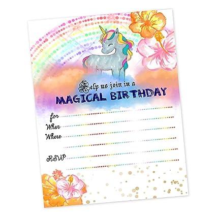 Unicornio fiesta de cumpleaños invitaciones Rainbow mágico ...