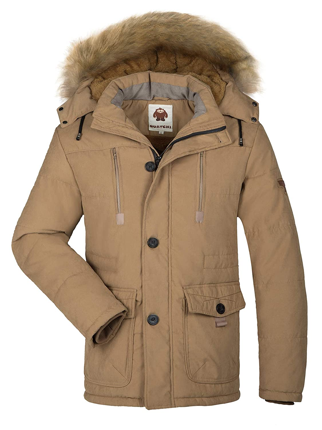 HAINES Parka Jacket Mens Coats Fur Hood Winter Warmth Thicken Casual Outwear Coat
