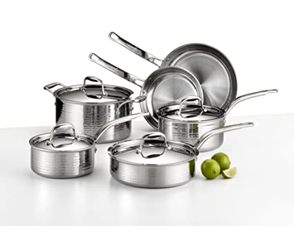 Buy Lagostina Q553sa64 Martellata Tri Ply Hammered Stainless Steel Dishwasher Safe Oven Safe Cookware Set 10 Piece Silver Online At Low Prices In India Amazon In