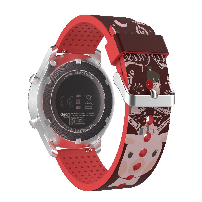 MoKo Gear S3 Watch Correa - Reemplazo Suave Silicona Sport Strap Band (Diseño impresión) para Samsung Gear S3 Frontier / S3 Classic/Moto 360 2nd Gen ...