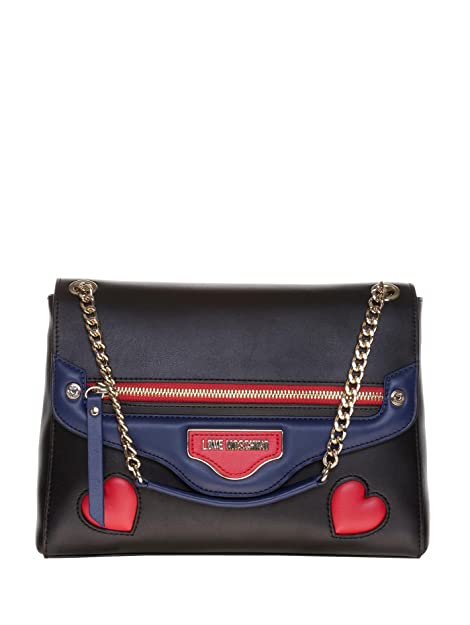 c88af61aad LOVE MOSCHINO BORSA TRACOLLA ECOPELLE PATCH CUORI NERO, JC4100PP12.LQ0 00A