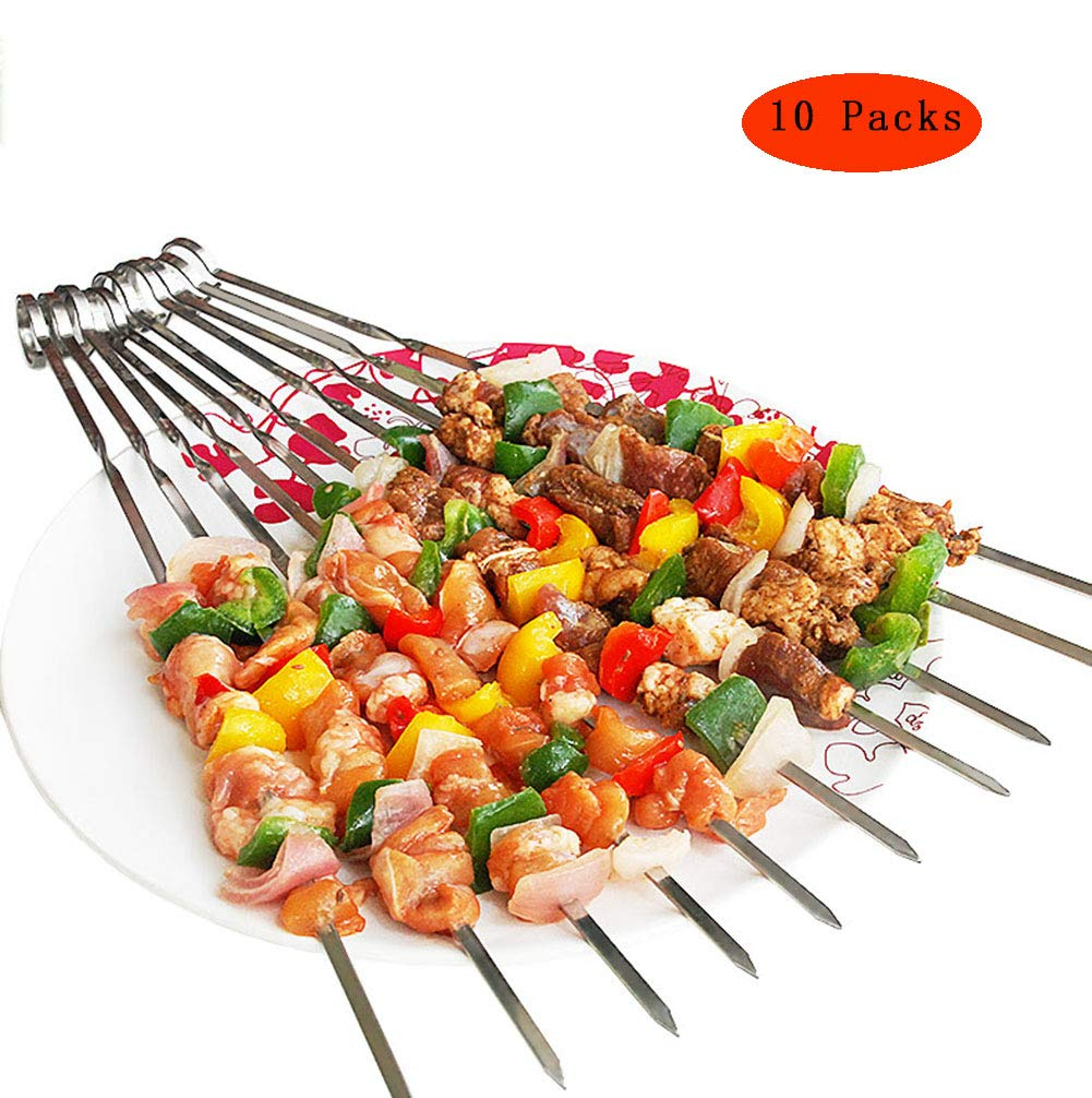 Barbecue Forks 304 Stainless Steel Material Curved Design Reusable,with Portable Bag Suitable for Outdoor Barbecue,10Packs