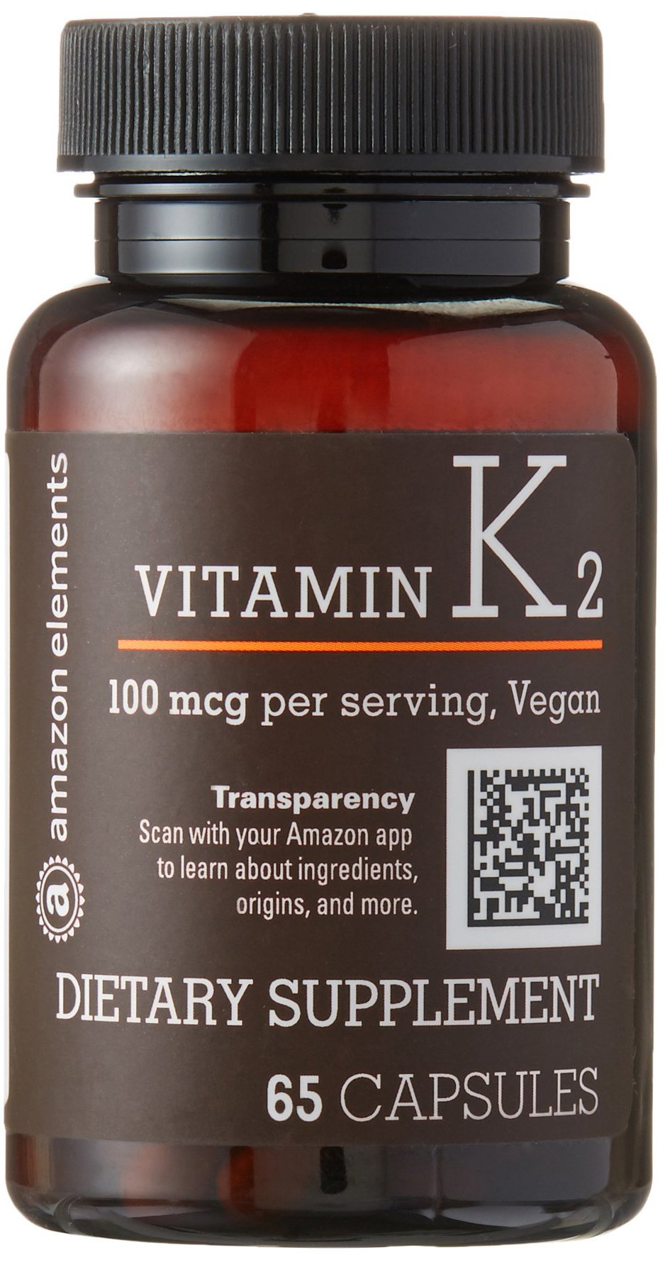 Amazon Elements Vitamin K2 100 mcg, Vegan, 65 Capsules, 2 month supply