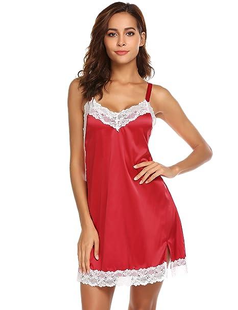 092f0814b6f9 Ekouaer Women s Satin Sleepwear Lace Chemise Nightgown Sexy V Neck Lingerie  Nightwear