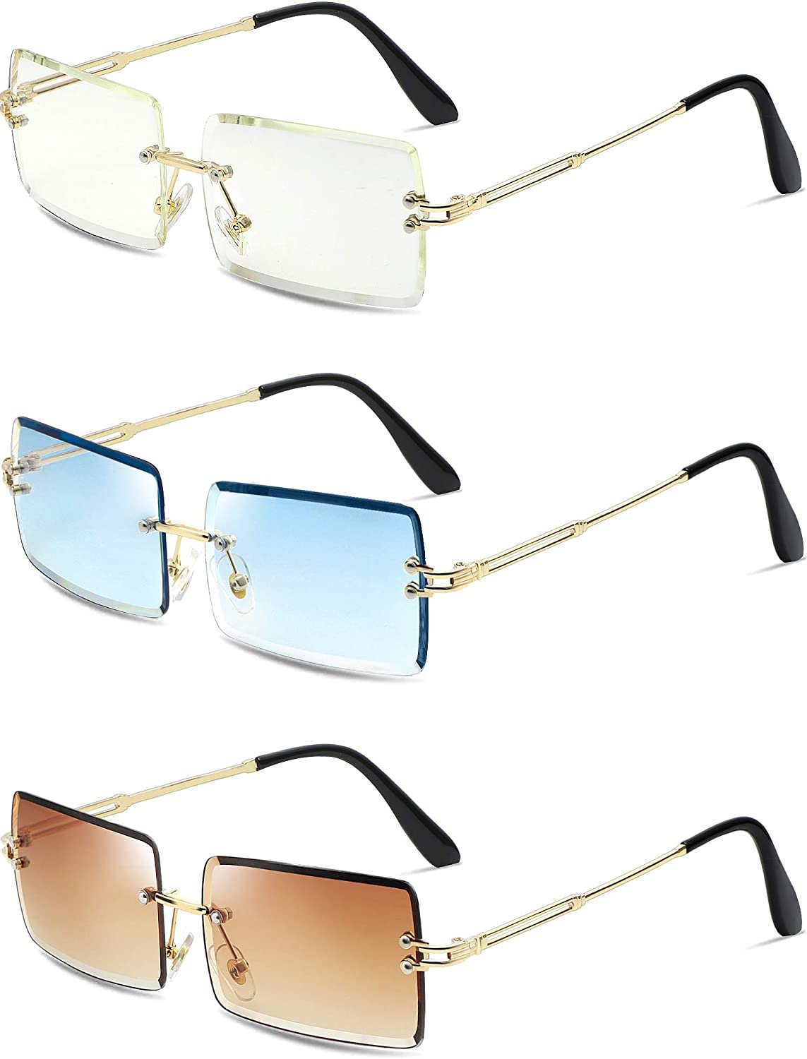 3 Pairs Clear Sunglasses for Women Men Rimless Rectangle Sunglasses Fashion Small Square Glasses Candy Color Transparent